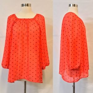 Old Navy NWT Coral Printed Sheer Blouse Size XXL